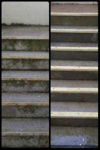 Power Washing Cleaning on Outdoor Staircase